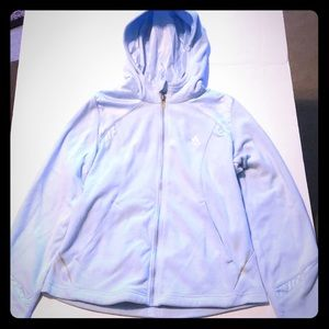 NWOT Adidas baby blue size small fleece jacket